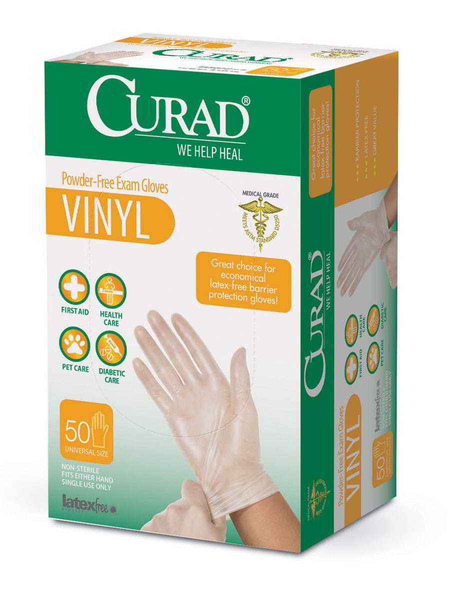 CURAD Powder-Free Vinyl Exam Gloves-One Size Fits Most