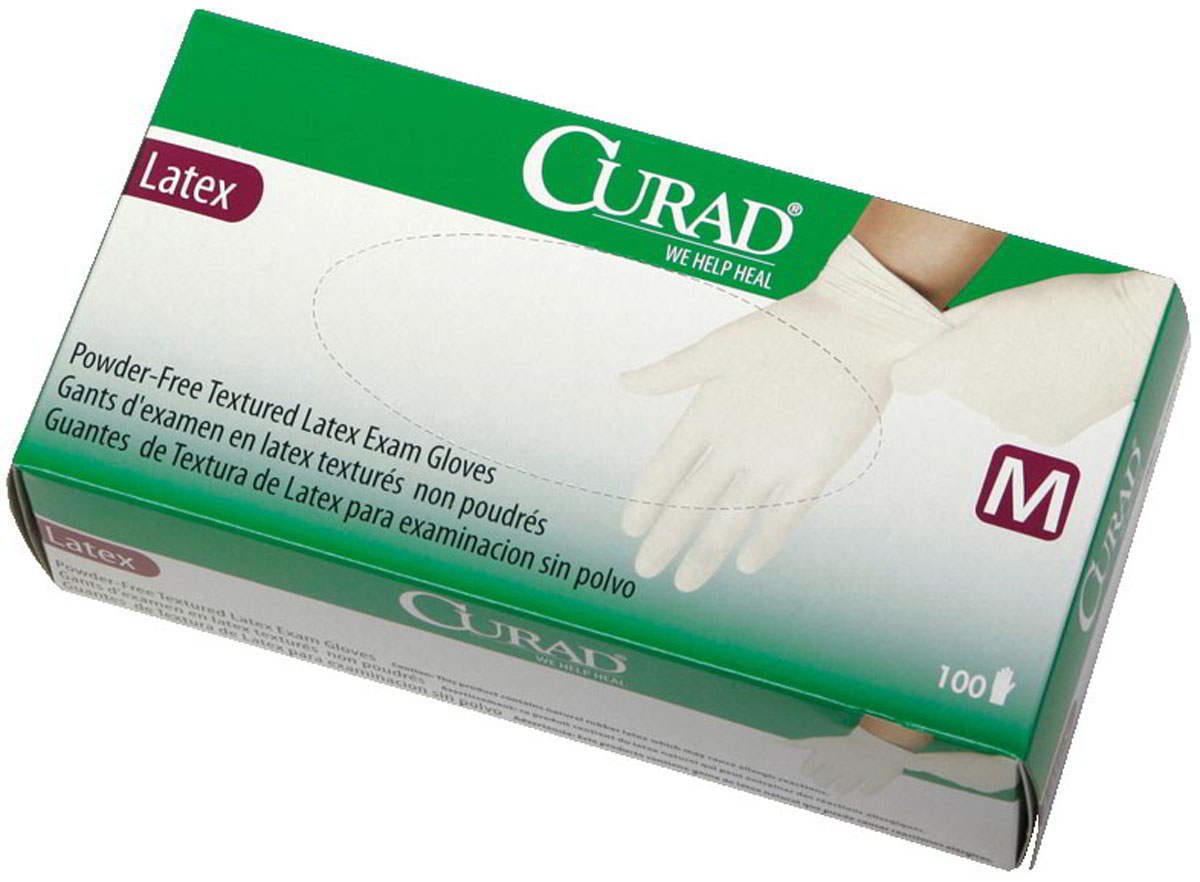 CURAD Powder-Free Textured Latex Exam Gloves 2