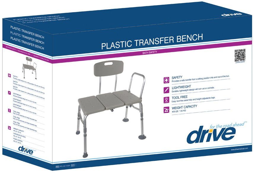 Plastic Transfer Bench with Adjustable Backrest @MedicalGrace.com